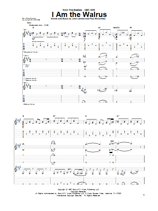 Tablature guitare I Am The Walrus de The Beatles - Tablature Guitare