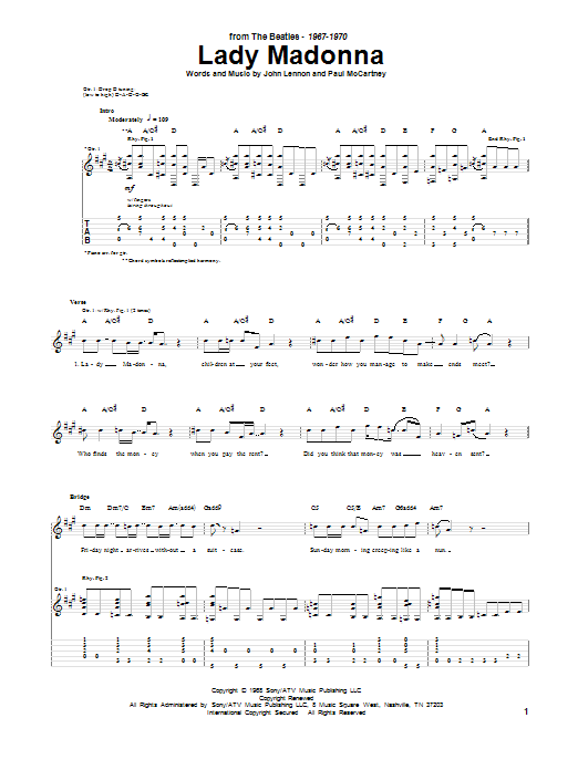 Tablature guitare Lady Madonna de The Beatles - Tablature Guitare