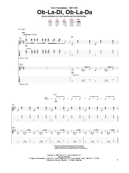 Ob-La-Di, Ob-La-Da Guitar Tab by The Beatles (Guitar Tab u2013 151267)