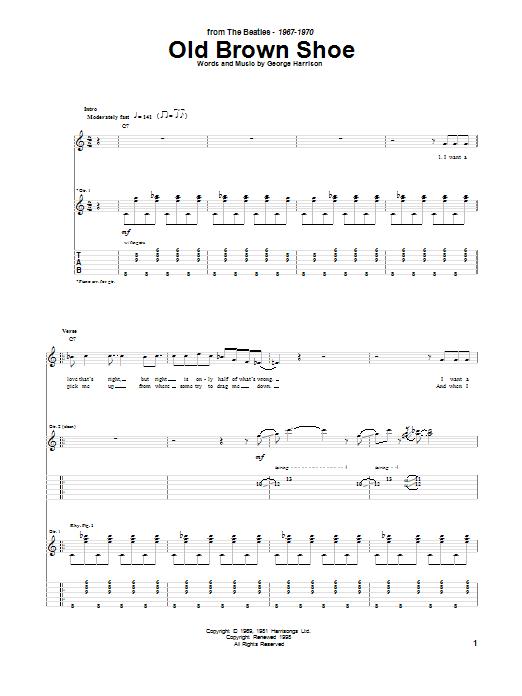 Tablature guitare Old Brown Shoe de The Beatles - Tablature Guitare