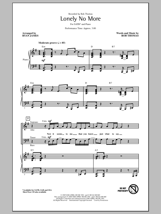 Partition chorale Lonely No More de Rob Thomas - SATB