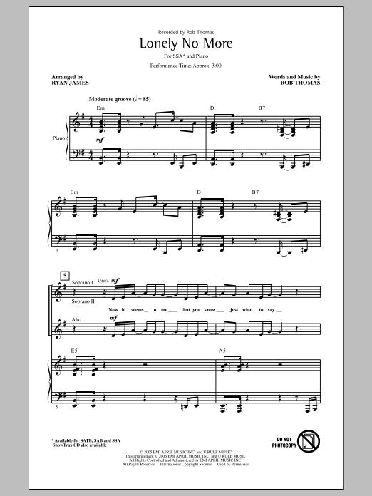 Partition chorale Lonely No More de Rob Thomas - SSA