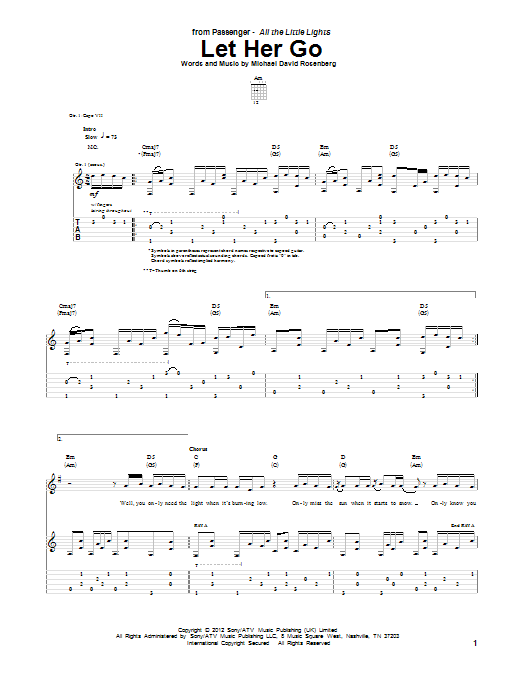 Tablature guitare Let Her Go de Passenger - Tablature Guitare