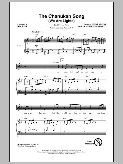 Partition chorale The Chanukah Song (We Are Lights) de Stephen Schwartz - SSA