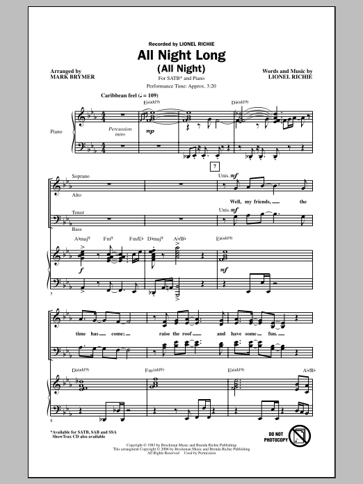 Partition chorale All Night Long (All Night) de Lionel Richie - SATB