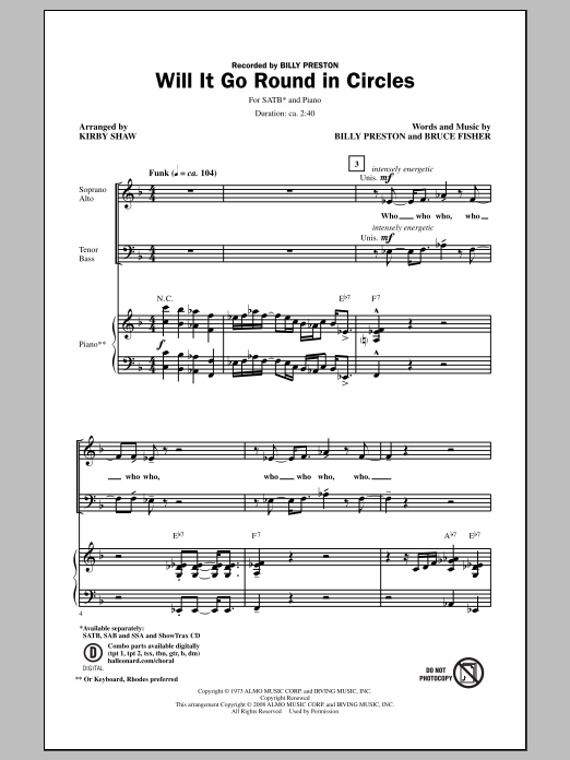 Partition chorale Will It Go Round In Circles de Billy Preston - SATB