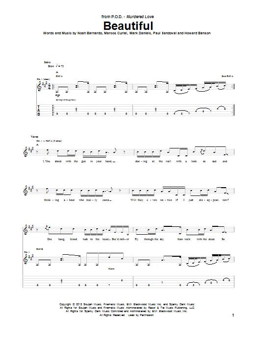 Tablature guitare Beautiful de P.O.D. - Tablature Guitare