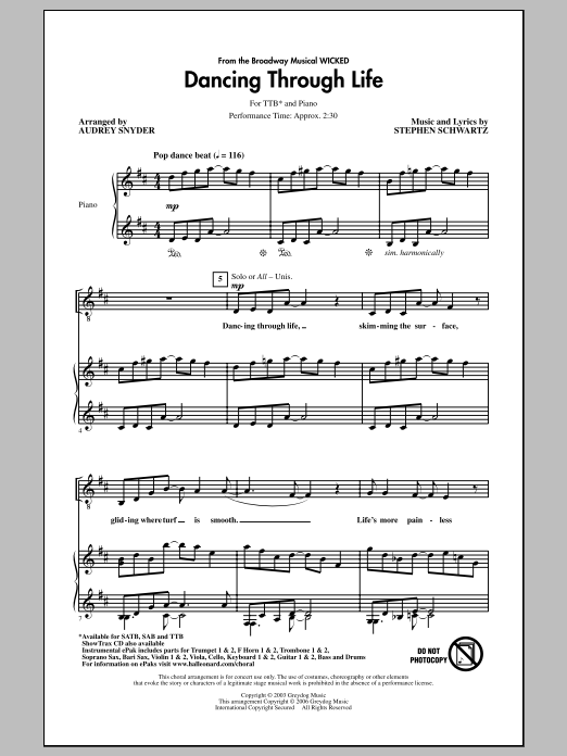 Partition chorale Dancing Through Life de Stephen Schwartz - TTBB