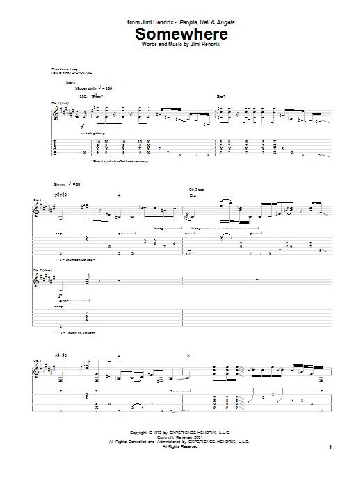 Tablature guitare Somewhere de Jimi Hendrix - Tablature Guitare