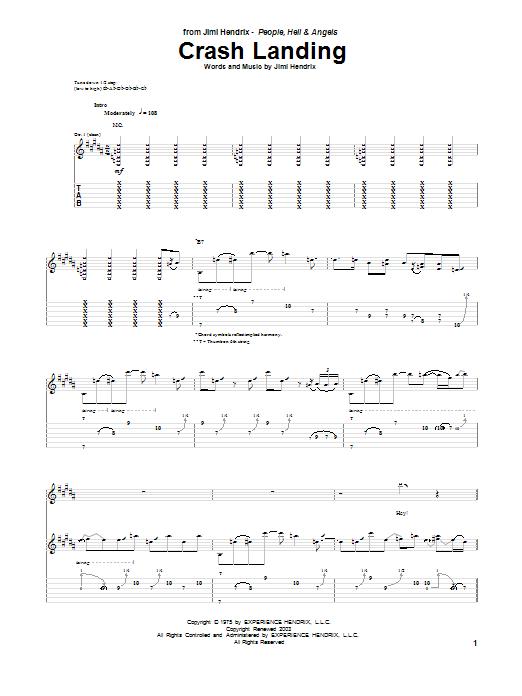 Tablature guitare Crash Landing de Jimi Hendrix - Tablature Guitare