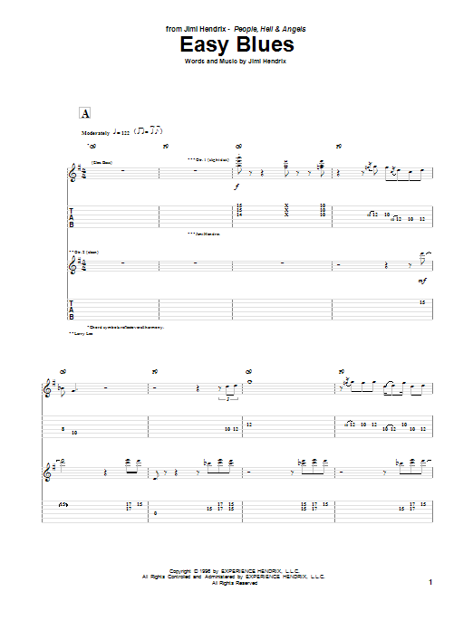 Tablature guitare Easy Blues de Jimi Hendrix - Tablature Guitare