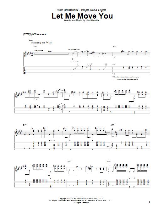 Tablature guitare Let Me Move You de Jimi Hendrix - Tablature Guitare