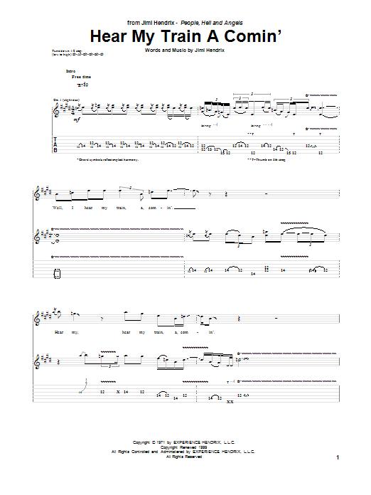 Tablature guitare Hear My Train A Comin' de Jimi Hendrix - Tablature Guitare
