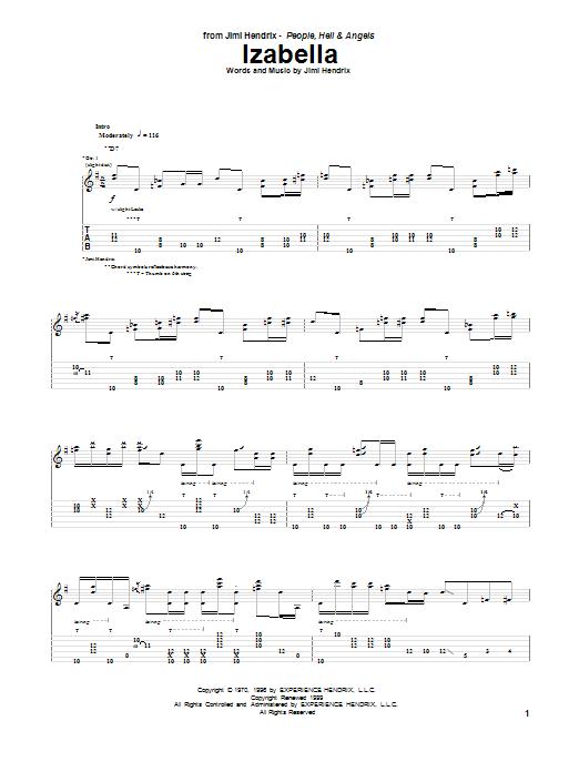 Tablature guitare Izabella de Jimi Hendrix - Tablature Guitare