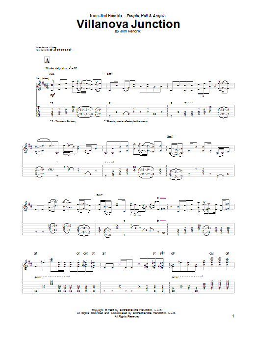 Tablature guitare Villanova Junction de Jimi Hendrix - Tablature Guitare