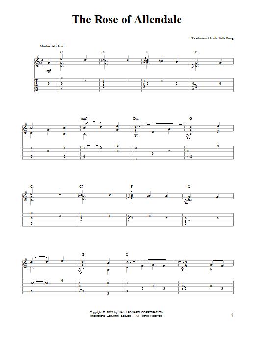 Tablature guitare The Rose Of Allendale de Mark Phillips - Tablature guitare facile
