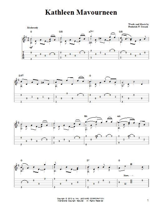Tablature guitare Kathleen Mavoureen de Mark Phillips - Tablature guitare facile