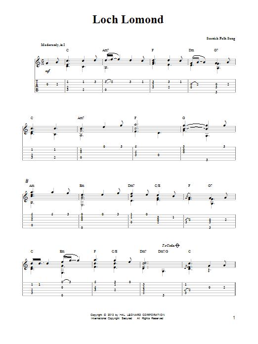 Tablature guitare Loch Lomond de Mark Phillips - Tablature guitare facile