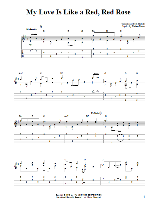 Tablature guitare O My Love Is Like A Red, Red Rose de Mark Phillips - Tablature guitare facile