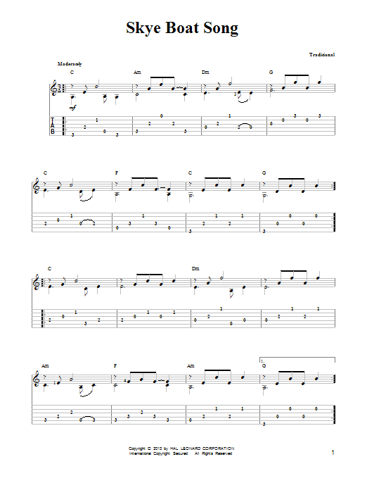 Tablature guitare The Skye Boat Song de Mark Phillips - Tablature guitare facile