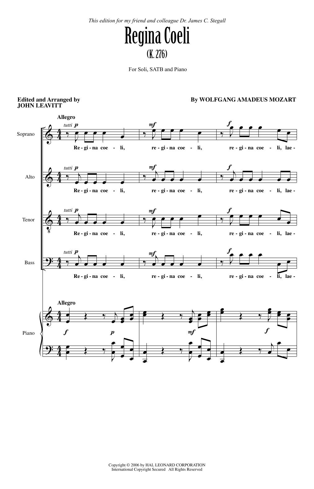 Partition chorale Regina Coeli KV276 de Wolfgang Amadeus Mozart - SATB