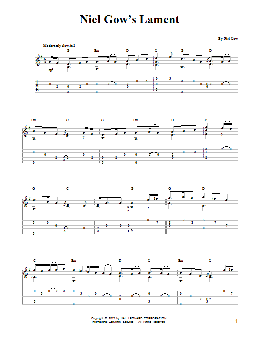 Tablature guitare Niel Gow's Lament de Mark Phillips - Tablature guitare facile