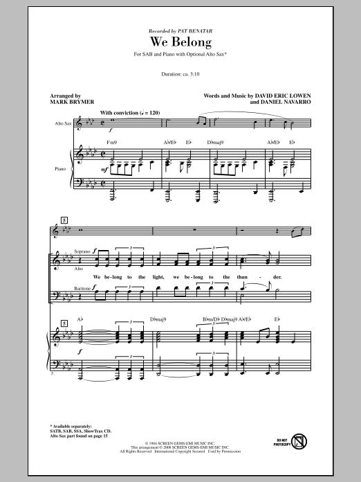 Partition chorale We Belong de Pat Benatar - SAB