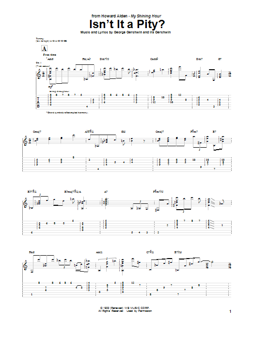 Tablature guitare Isn't It A Pity? de Howard Alden - Tablature Guitare