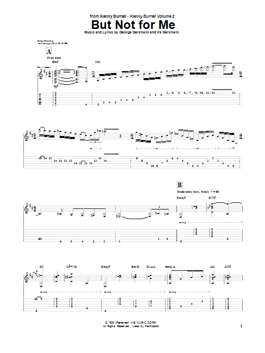 Tablature guitare But Not For Me de Kenny Burrell - Tablature Guitare