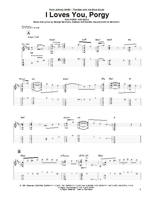 Tablature guitare I Loves You, Porgy de Johnny Smith - Tablature Guitare