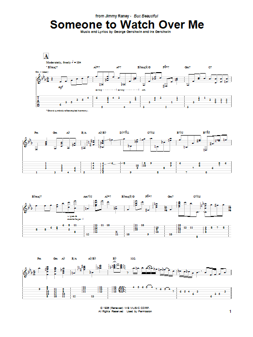 Tablature guitare Someone To Watch Over Me de Jimmy Raney - Tablature Guitare
