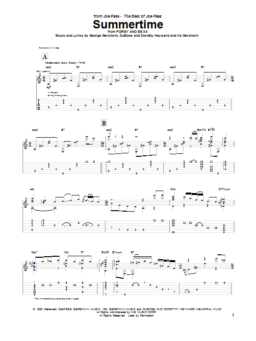 Tablature guitare Summertime de Joe Pass - Tablature Guitare