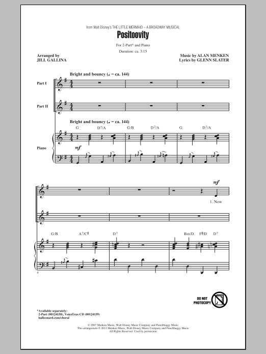 Partition chorale Positoovity de Glenn Slater - 2 voix