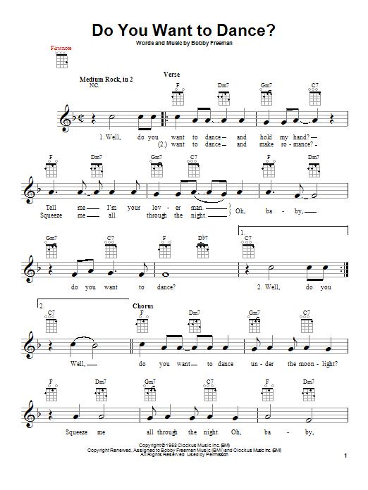 Tablature guitare Do You Want To Dance? de Bobby Freeman - Ukulele