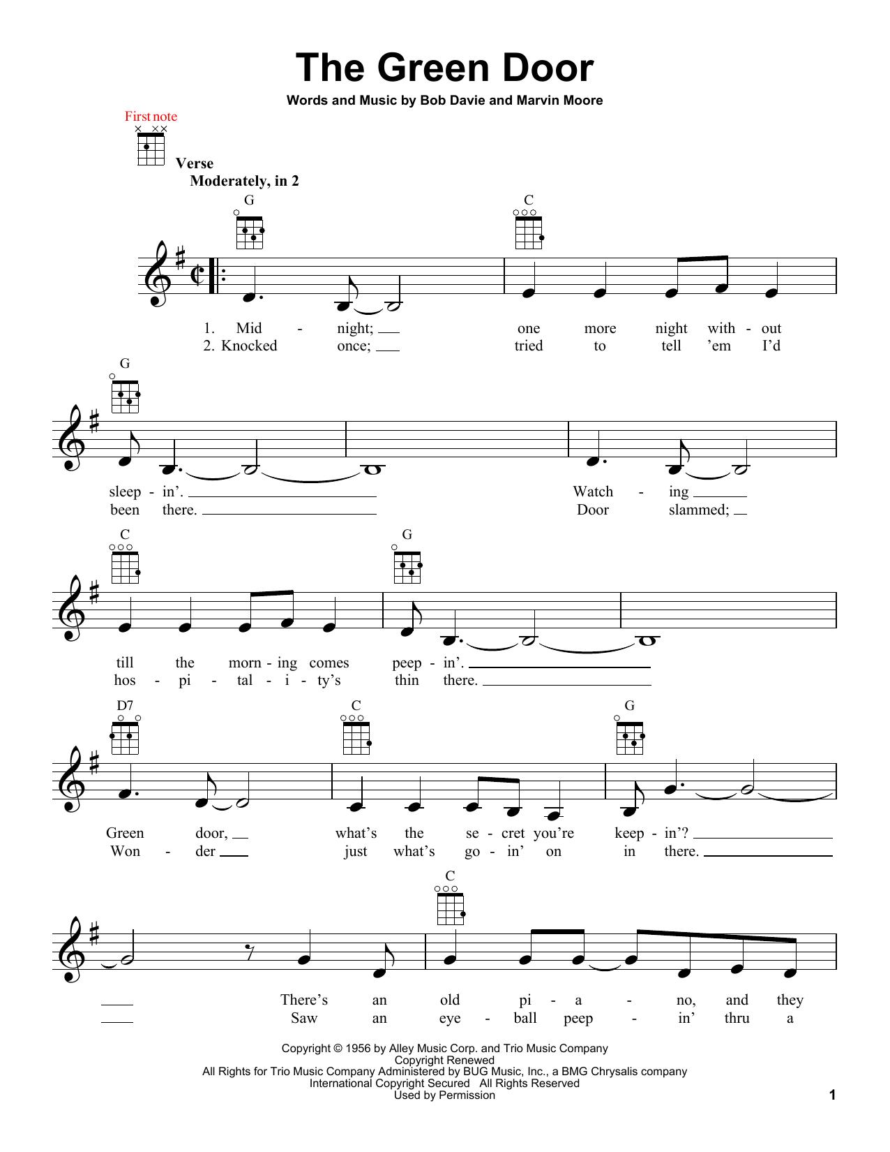 Tablature guitare The Green Door de Jim Lowe - Ukulele