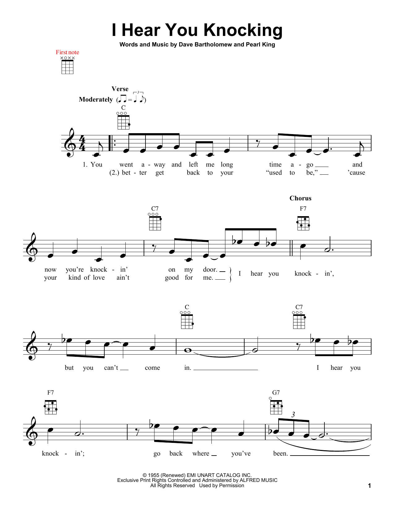 Tablature guitare I Hear You Knocking de Dave Bartholomew - Ukulele
