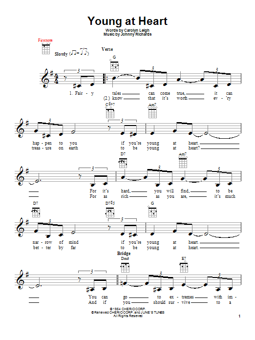 Tablature guitare Young At Heart de Carolyn Leigh - Ukulele