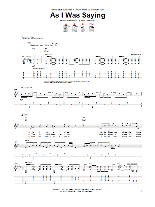 Tablature guitare As I Was Saying de Jack Johnson - Tablature Guitare