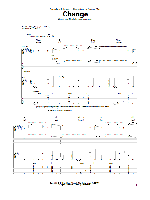 Tablature guitare Change de Jack Johnson - Tablature Guitare