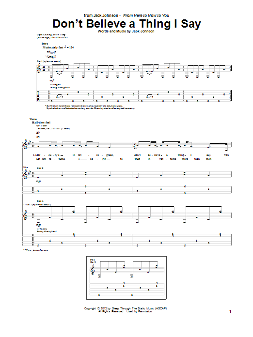 Tablature guitare Don't Believe A Thing I Say de Jack Johnson - Tablature Guitare
