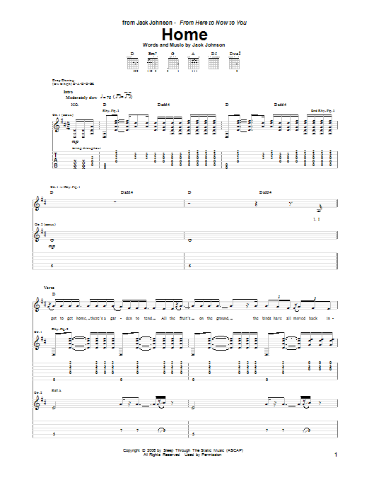 Tablature guitare Home de Jack Johnson - Tablature Guitare