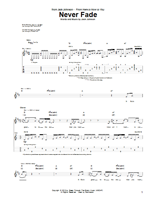 Tablature guitare Never Fade de Jack Johnson - Tablature Guitare