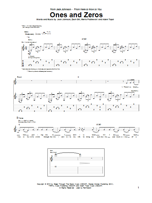 Tablature guitare Ones And Zeros de Jack Johnson - Tablature Guitare