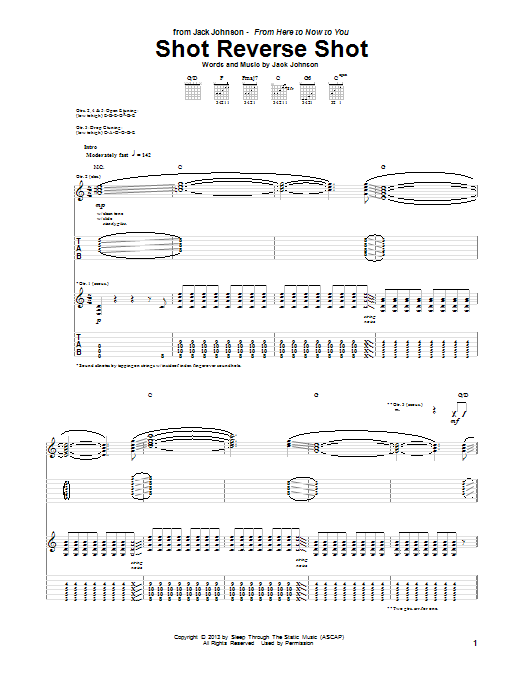 Tablature guitare Shot Reverse Shot de Jack Johnson - Tablature Guitare