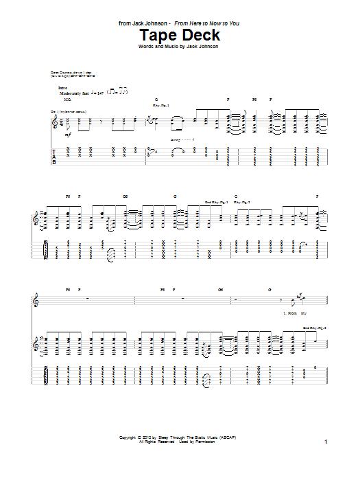 Tablature guitare Tape Deck de Jack Johnson - Tablature Guitare
