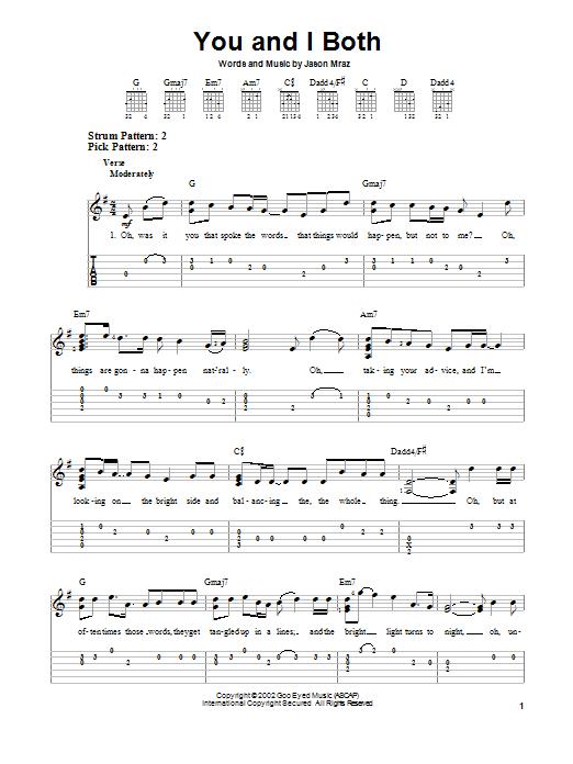 Tablature guitare You and I Both de Jason Mraz - Tablature guitare facile