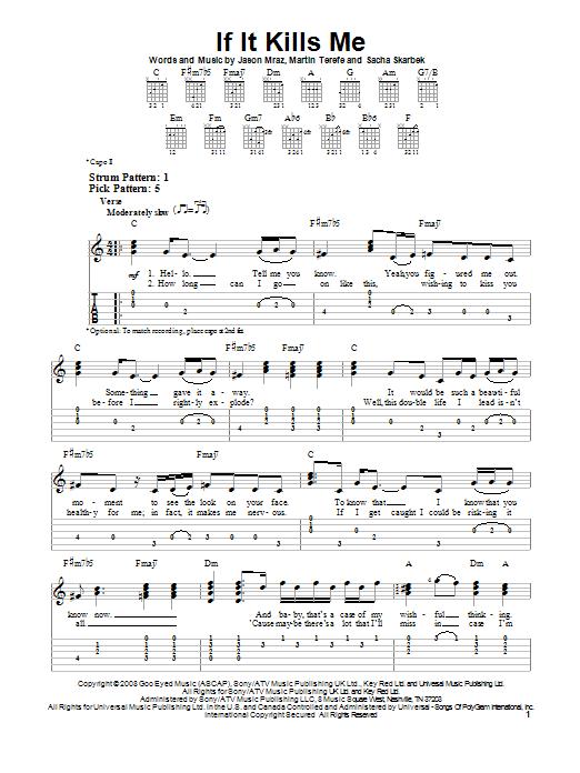 Tablature guitare If It Kills Me de Jason Mraz - Tablature guitare facile