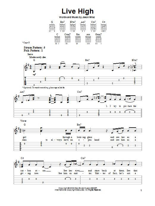 Tablature guitare Live High de Jason Mraz - Tablature guitare facile