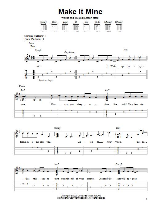 Tablature guitare Make It Mine de Jason Mraz - Tablature guitare facile