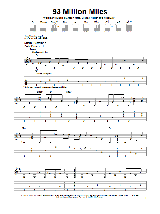 Tablature guitare 93 Million Miles de Jason Mraz - Tablature guitare facile